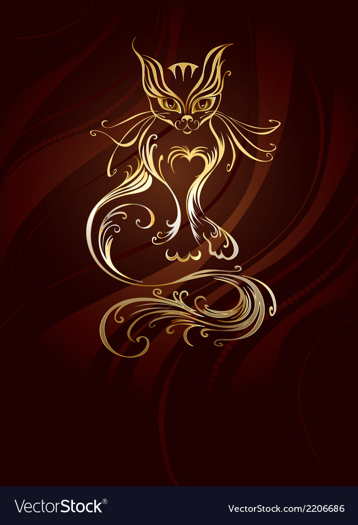 Golden cat vector | Price: 1 Credit (USD $1)