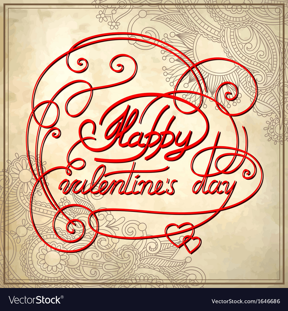 Happy valentines day on grungy paper vector | Price: 1 Credit (USD $1)