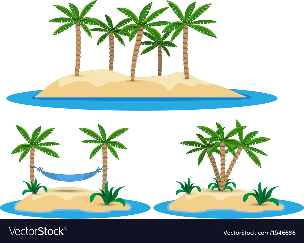 Isolated island with palm trees vector | Price: 1 Credit (USD $1)