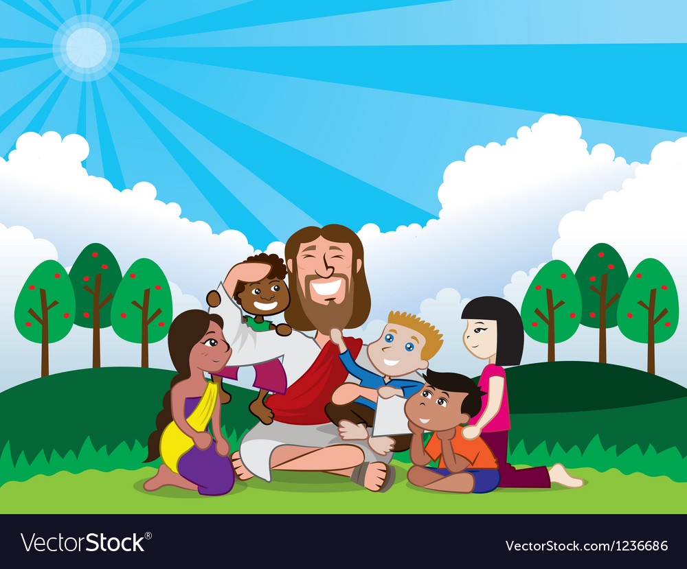Jesus and kids vector | Price: 3 Credit (USD $3)