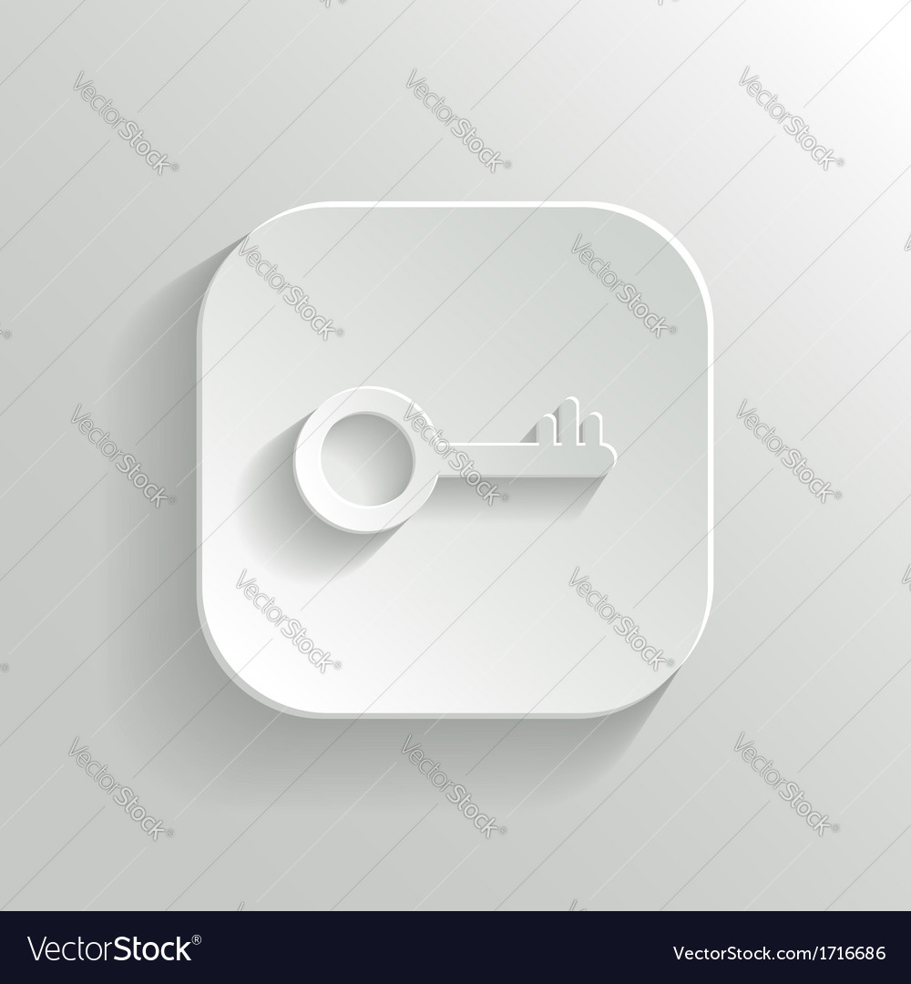 Key icon - white app button vector | Price: 1 Credit (USD $1)