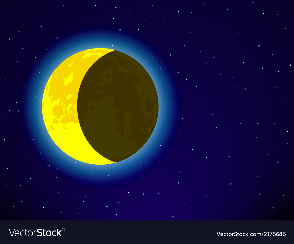Moon on night sky vector | Price: 1 Credit (USD $1)