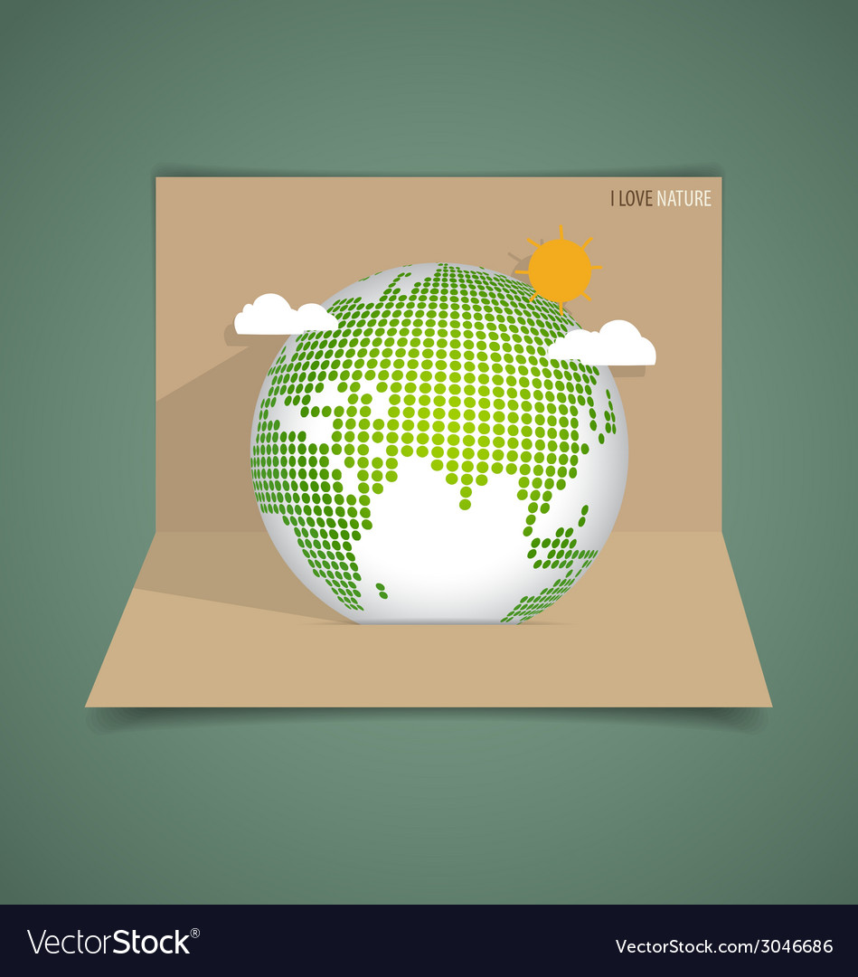 Pop up card with green eco earth vector | Price: 1 Credit (USD $1)