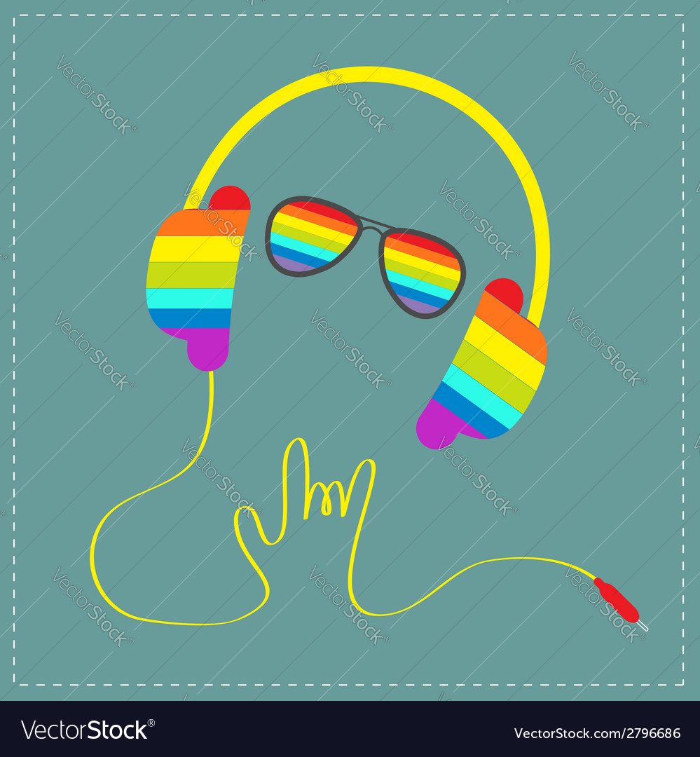 Rainbow headphones cord hand with sunglasses vector | Price: 1 Credit (USD $1)