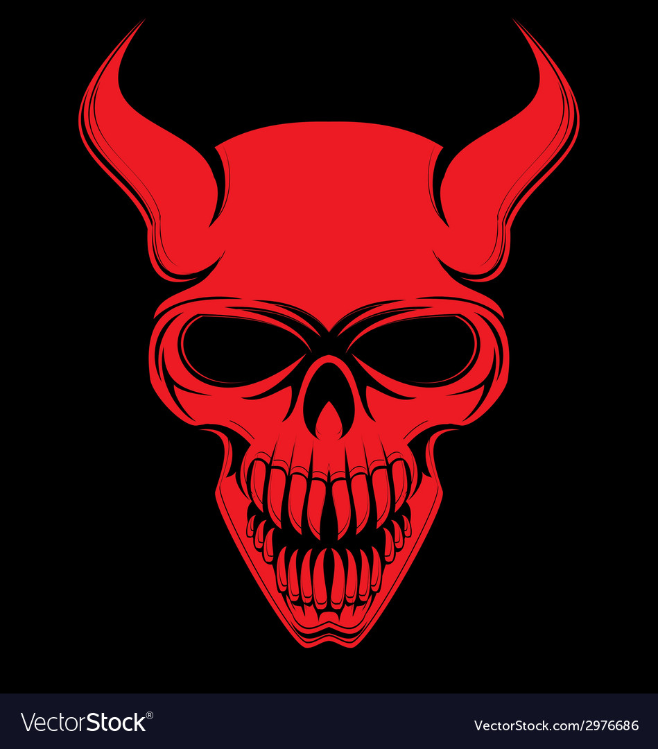Red devil skulls vector | Price: 1 Credit (USD $1)
