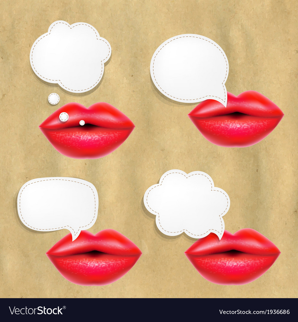 Red lips set with speech bubbles vector | Price: 1 Credit (USD $1)