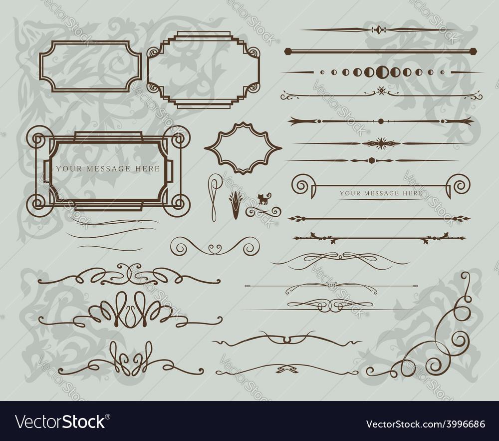 Set of vintage calligraphic elements vector | Price: 1 Credit (USD $1)