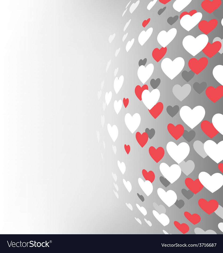 Abstract sphere with hearts on grayscale vector | Price: 1 Credit (USD $1)