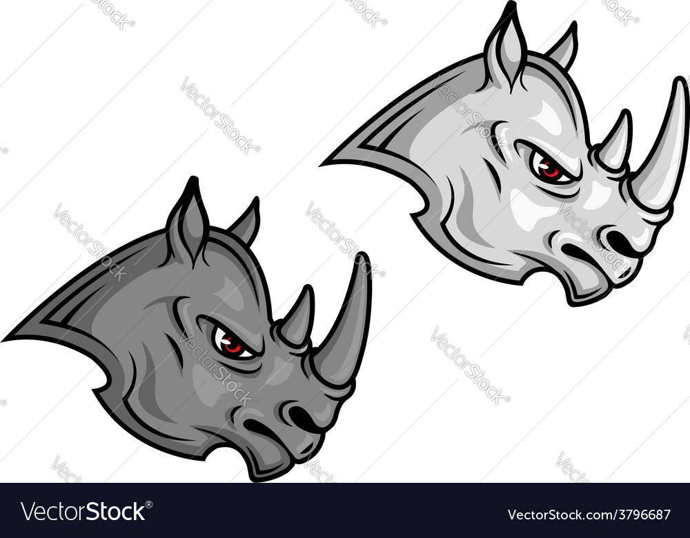 Cartoon rhino mascots vector | Price: 1 Credit (USD $1)