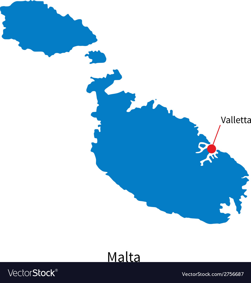 Detailed map of malta and capital city valletta vector | Price: 1 Credit (USD $1)