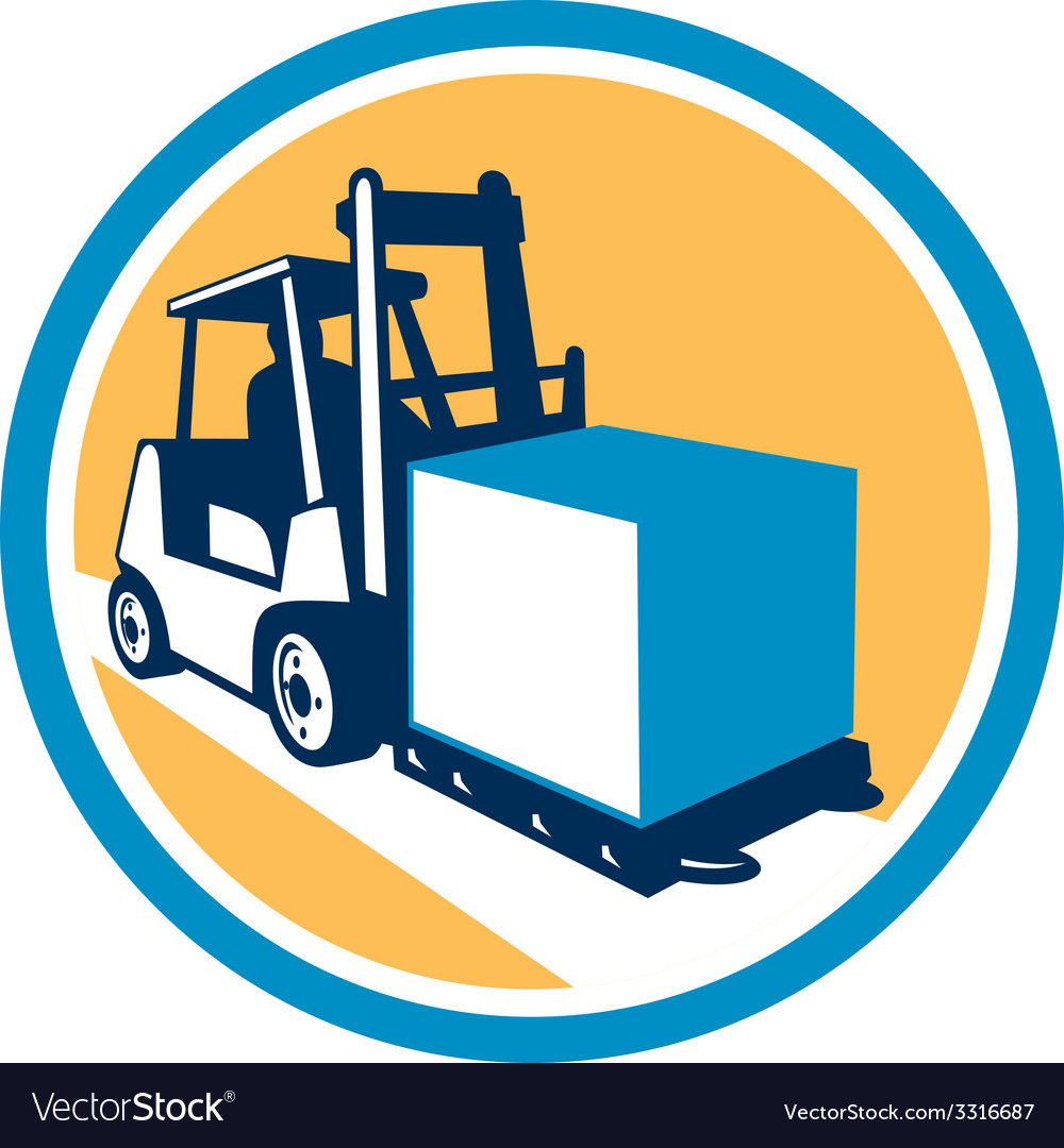 Forklift truck box circle retro vector | Price: 1 Credit (USD $1)