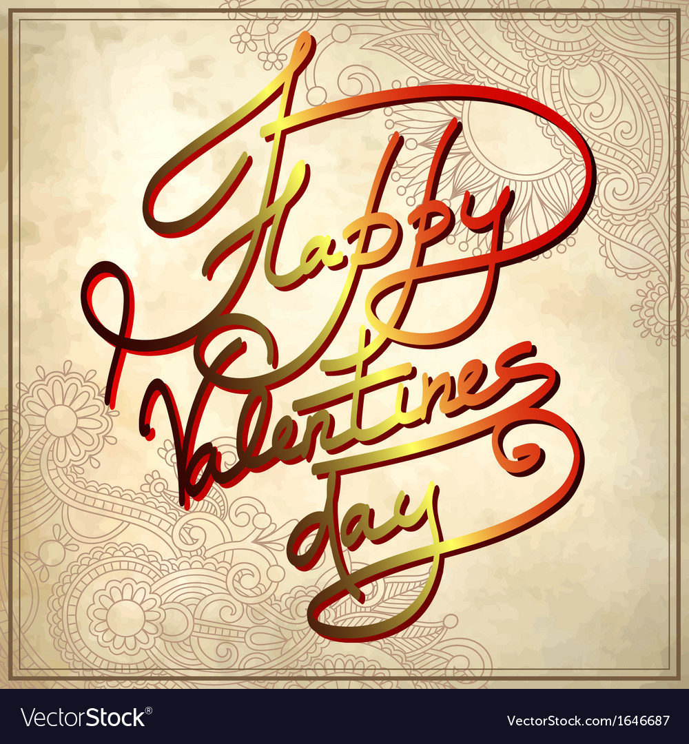 Happy valentines day on grungy paper background vector | Price: 1 Credit (USD $1)