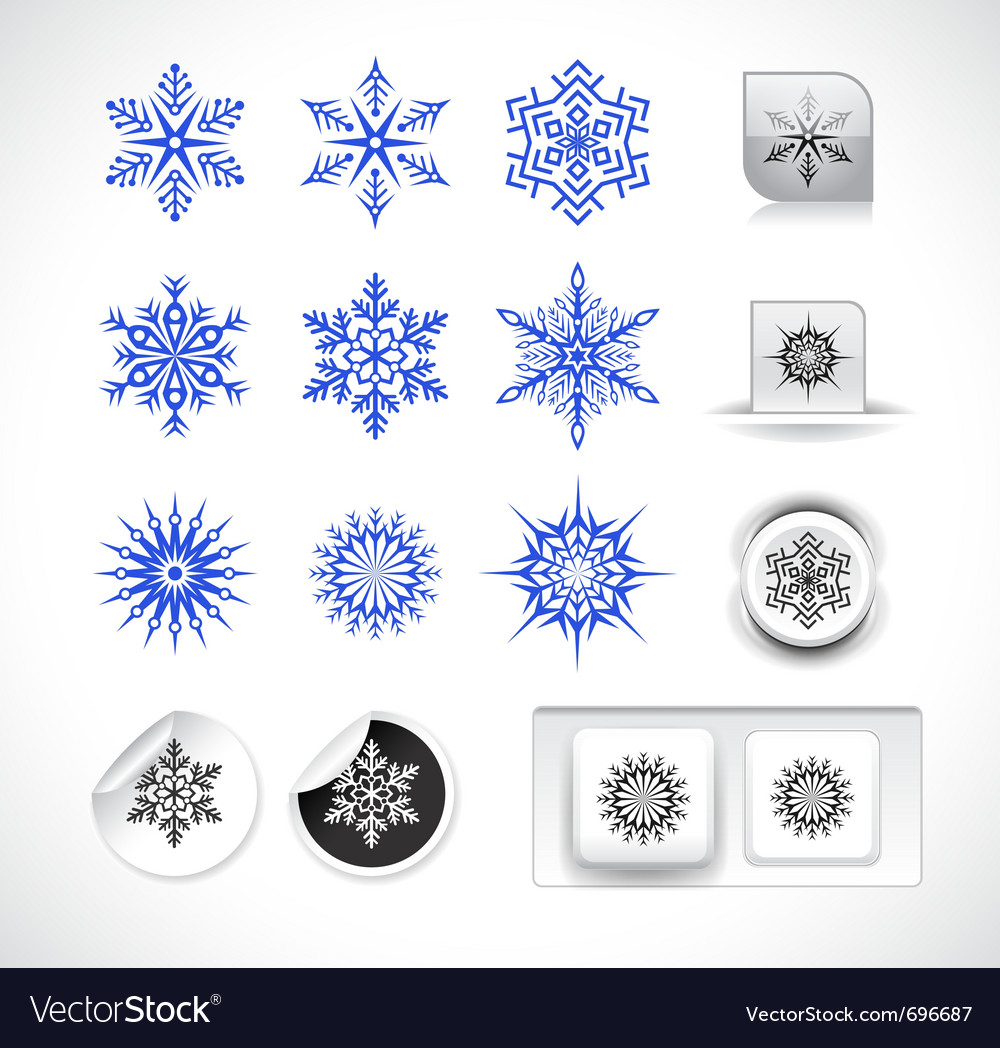 Set of snowflake shapes vector | Price: 1 Credit (USD $1)