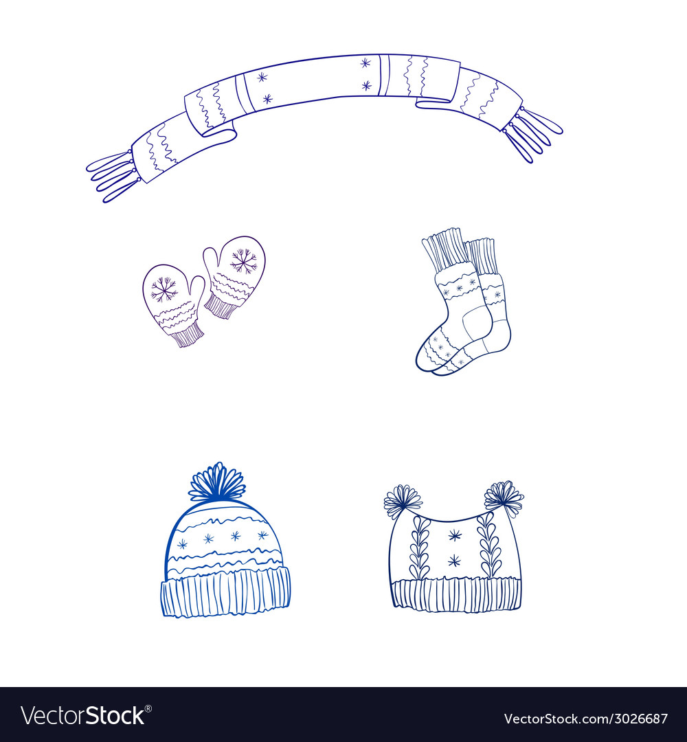 Set winter clothing vector | Price: 1 Credit (USD $1)