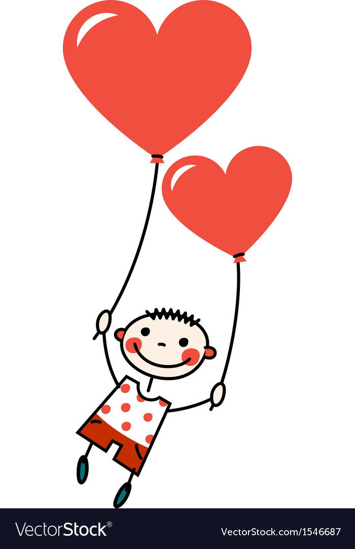 Smiling boy with heart shaped balloons vector | Price: 1 Credit (USD $1)