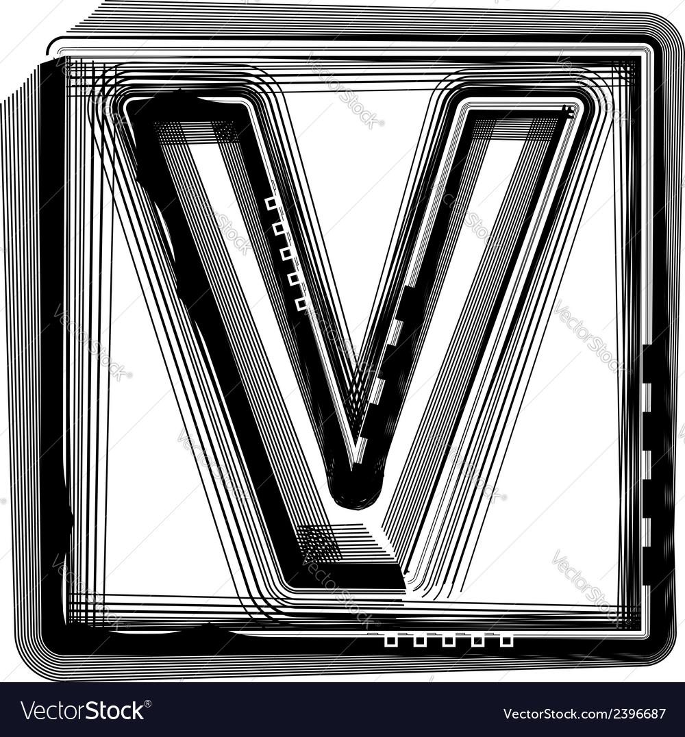 Striped font letter v vector   Price: 1 Credit (USD $1)