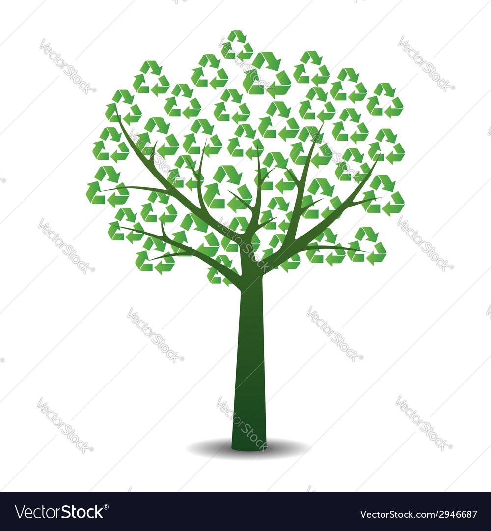 Tree with recycling symbols vector | Price: 1 Credit (USD $1)