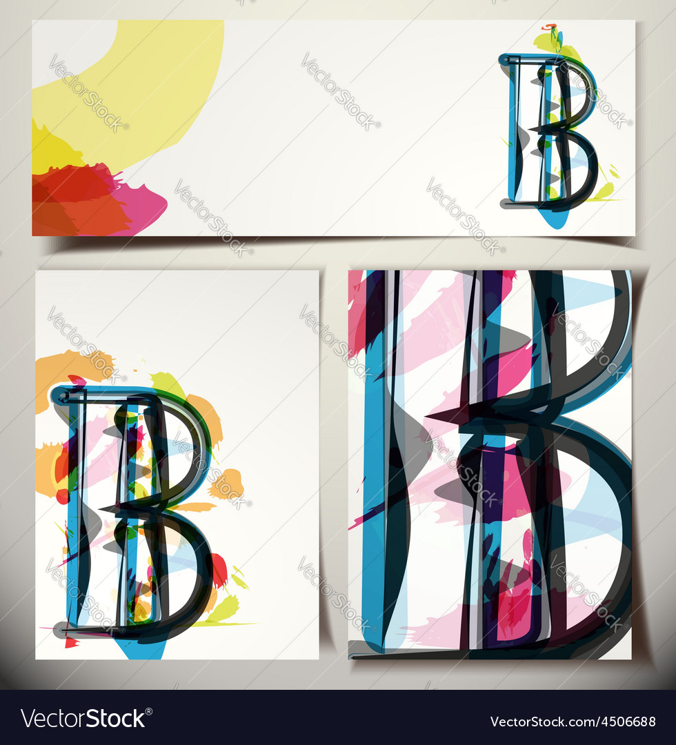 Artistic greeting card letter b vector | Price: 1 Credit (USD $1)