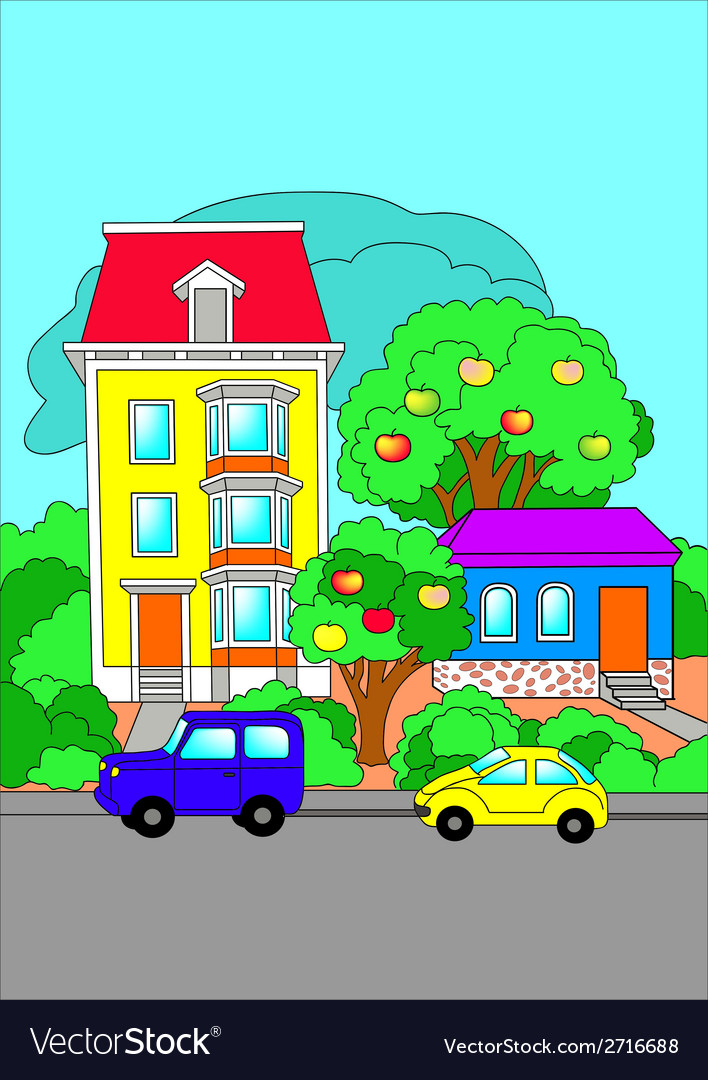 Cars are on the road near houses vector | Price: 1 Credit (USD $1)