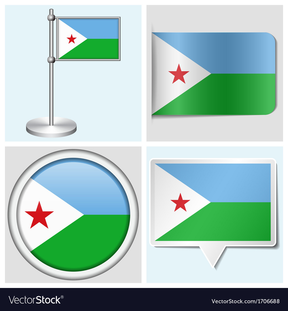 Djibouti flag - sticker button label flagstaff vector | Price: 1 Credit (USD $1)