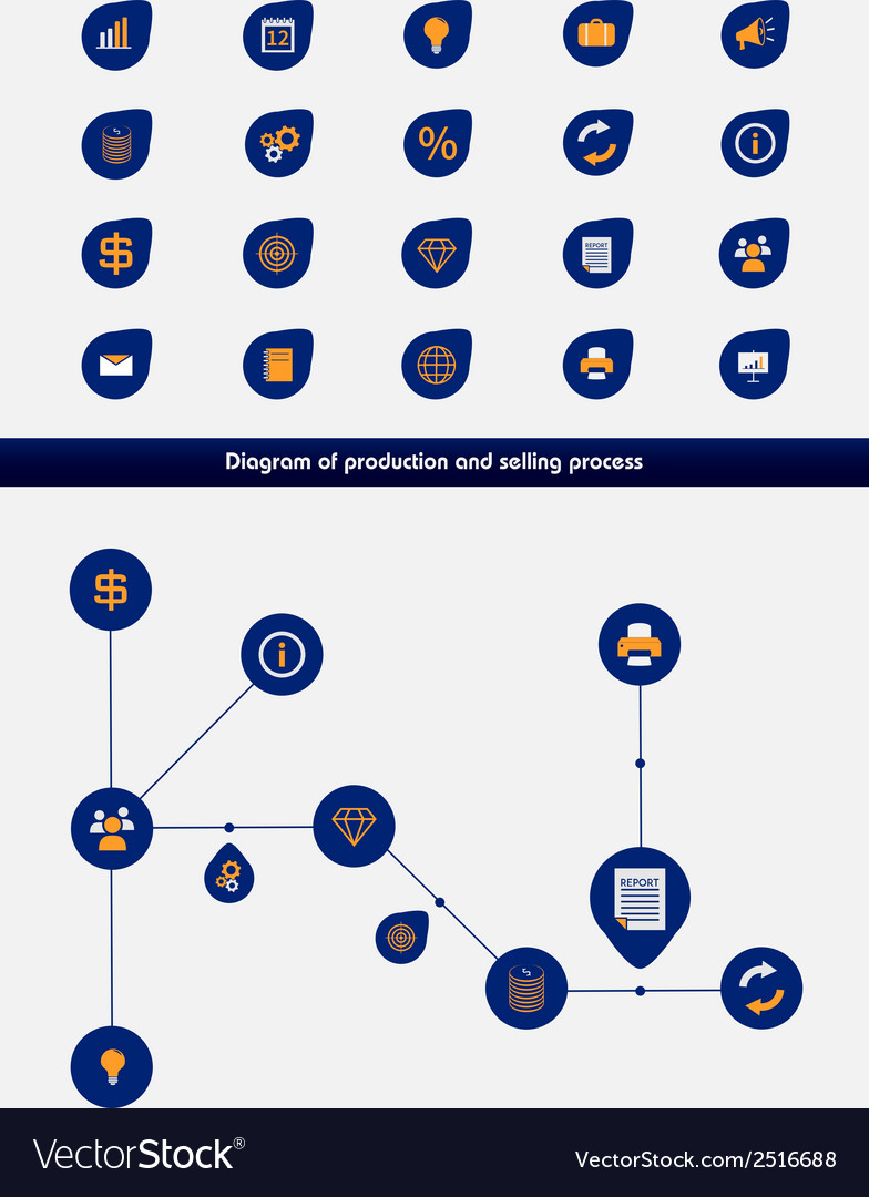 Editable business diagram template with icons vector | Price: 1 Credit (USD $1)