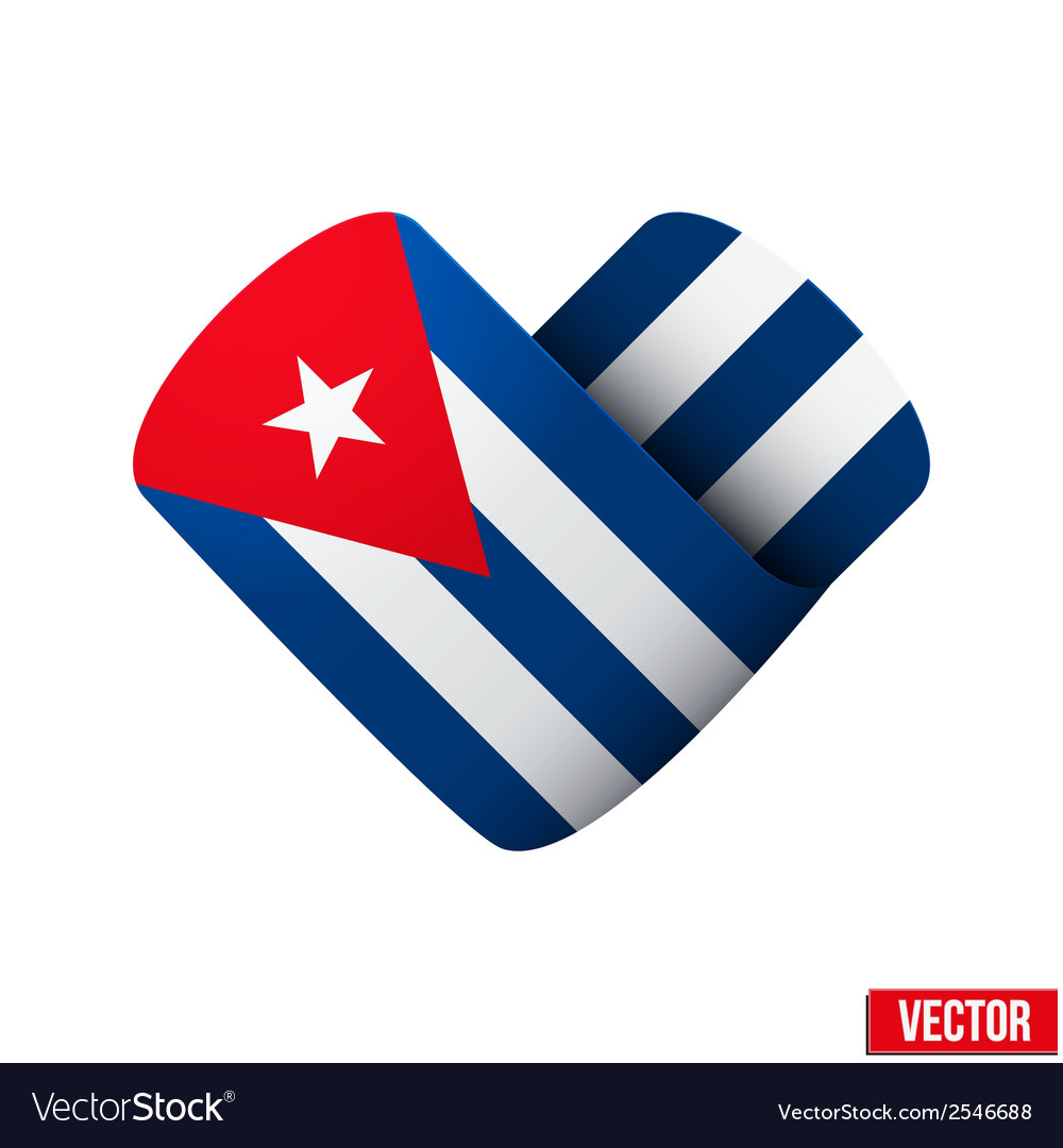 Flag icon in the form of heart i love cuba vector | Price: 1 Credit (USD $1)