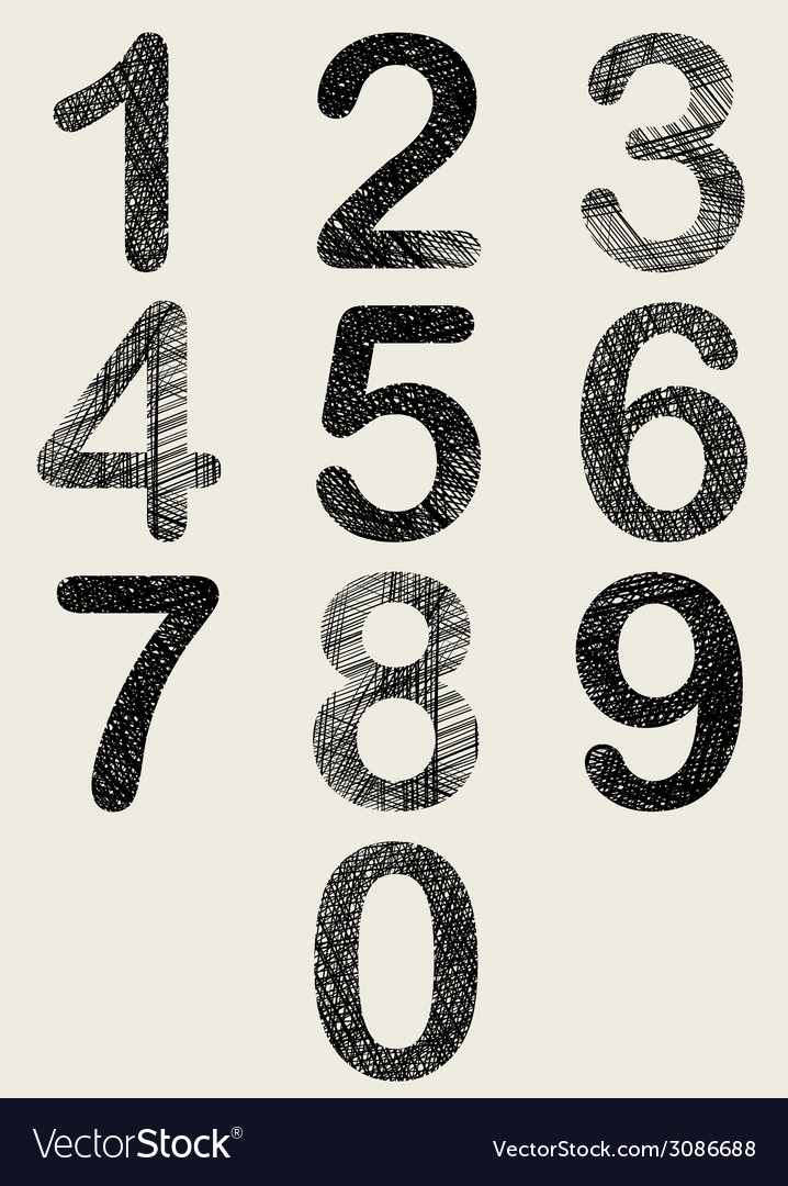 Hand drawn and sketched numbers set vector | Price: 1 Credit (USD $1)