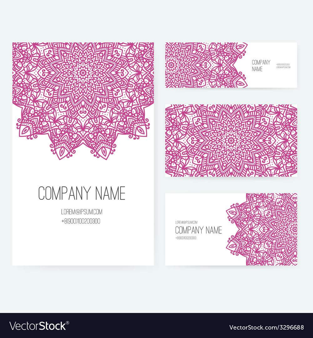 Ornamental business set dedign vector | Price: 1 Credit (USD $1)