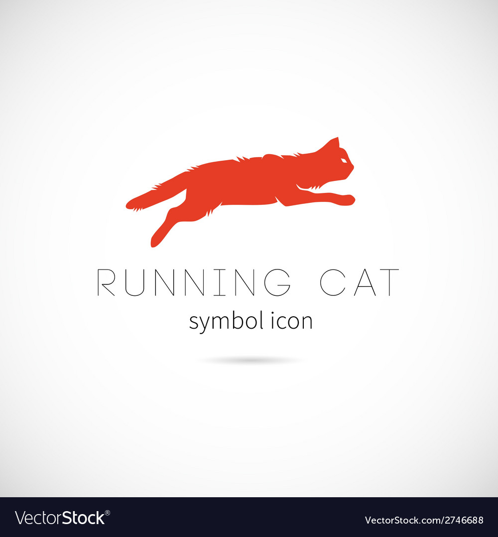 Running cat silhouette symbol icon or label vector | Price: 1 Credit (USD $1)
