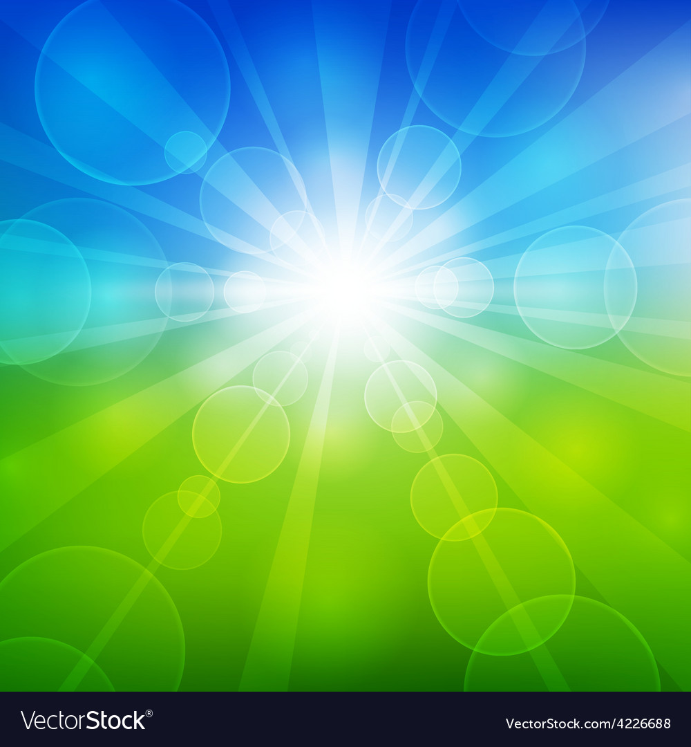 Summer beautiful landscape view with sunlight vector | Price: 1 Credit (USD $1)
