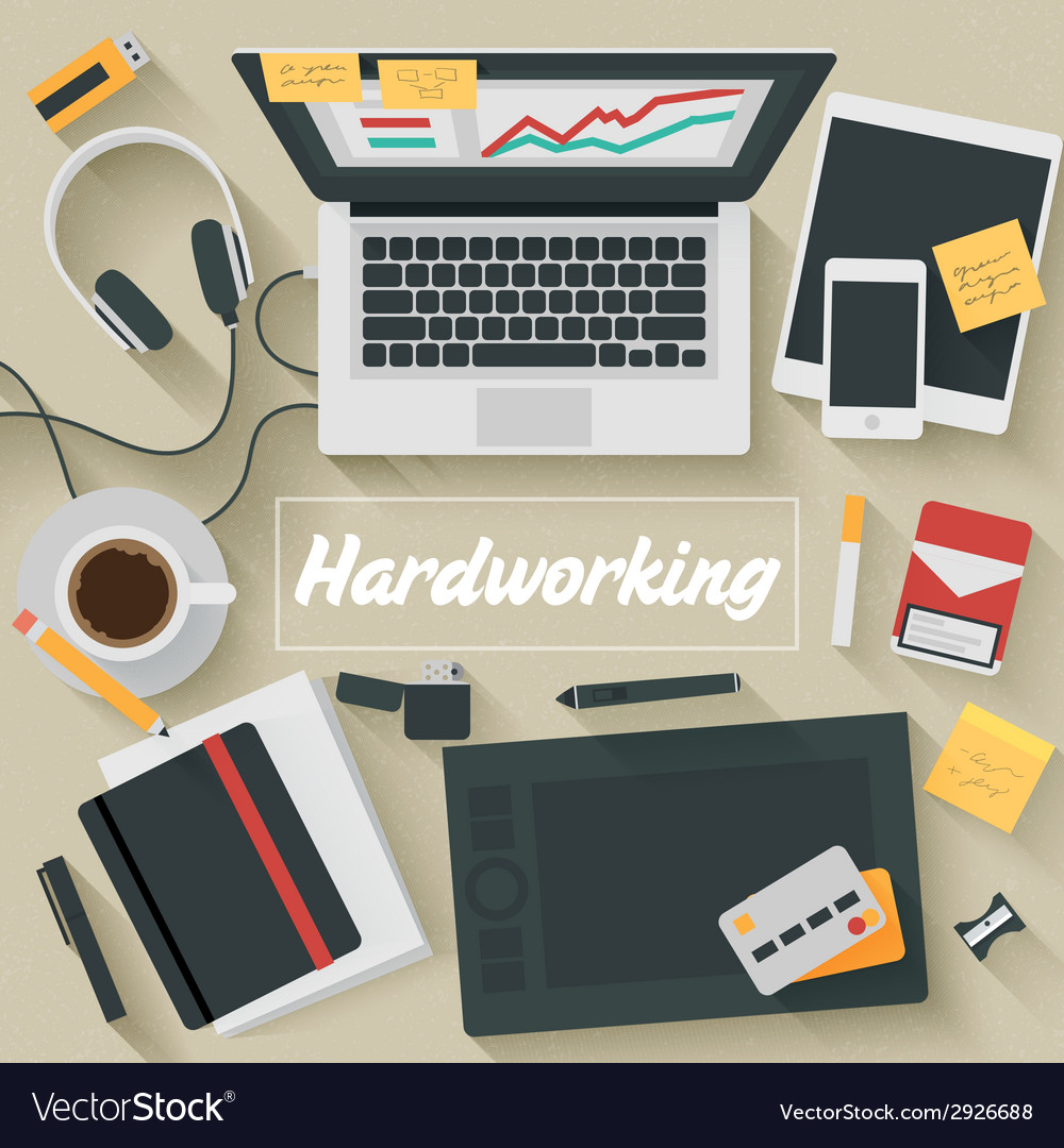 Trendy flat design hardworking vector | Price: 1 Credit (USD $1)