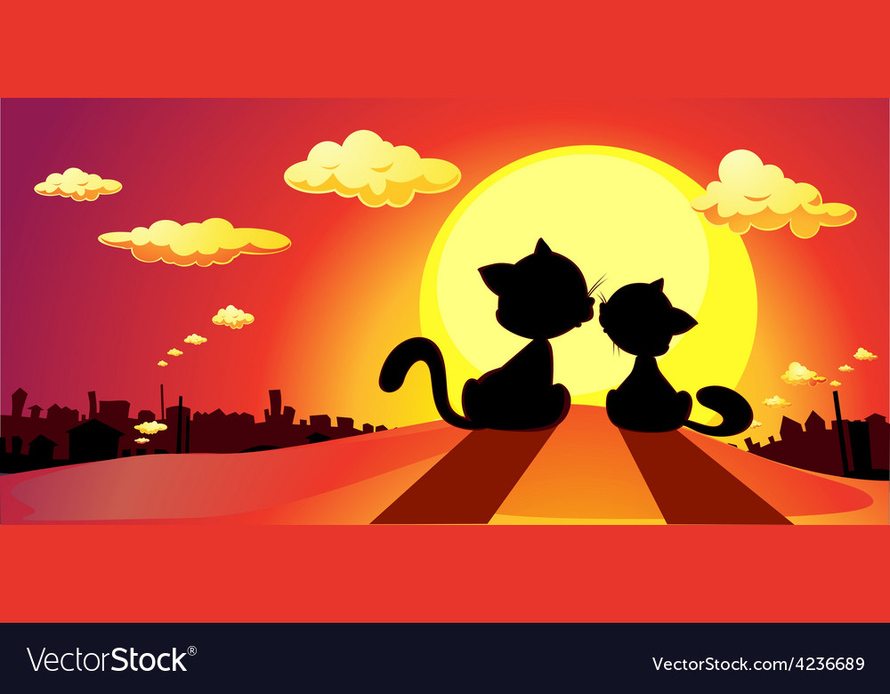 Cats in love silhouette in sunset - vector | Price: 1 Credit (USD $1)
