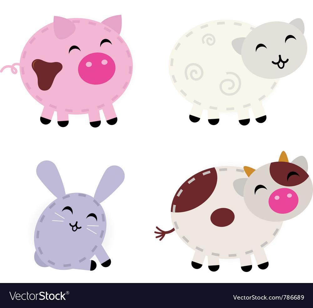 Cute farm animals vector | Price: 1 Credit (USD $1)
