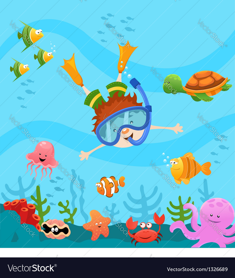 Diving kid vector | Price: 3 Credit (USD $3)