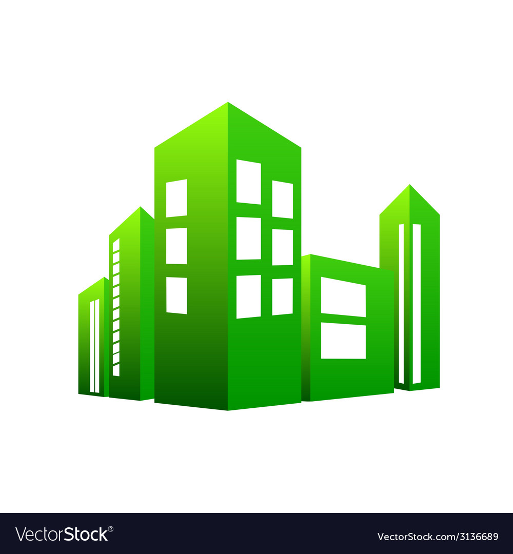Eco building green vector | Price: 1 Credit (USD $1)