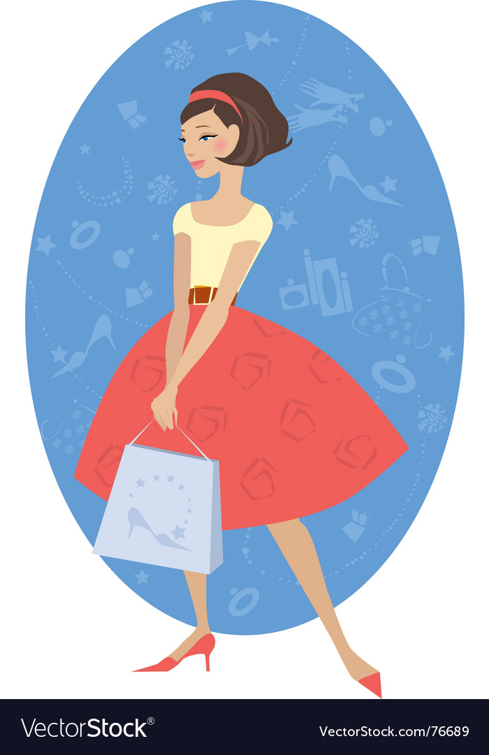 Girl shopping vector | Price: 1 Credit (USD $1)