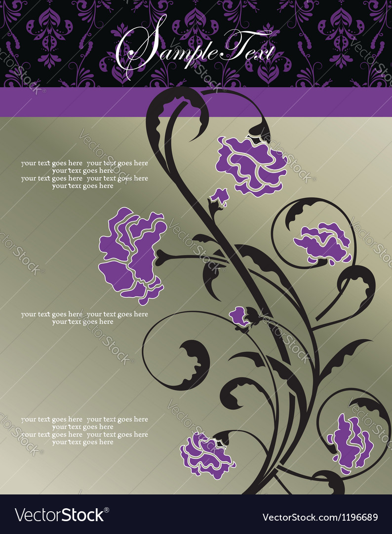 Invitation floral card with purple flowers vector | Price: 1 Credit (USD $1)
