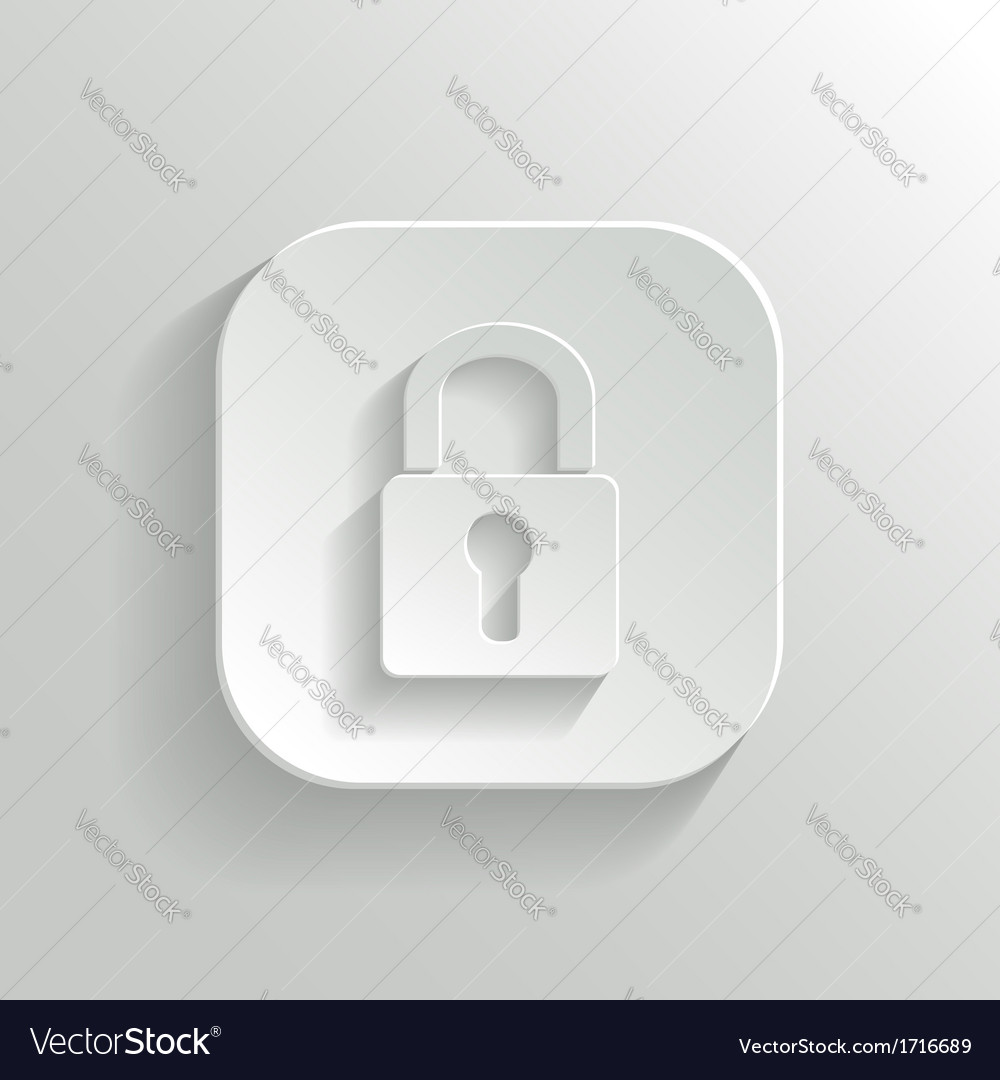 Lock icon - white app button vector | Price: 1 Credit (USD $1)
