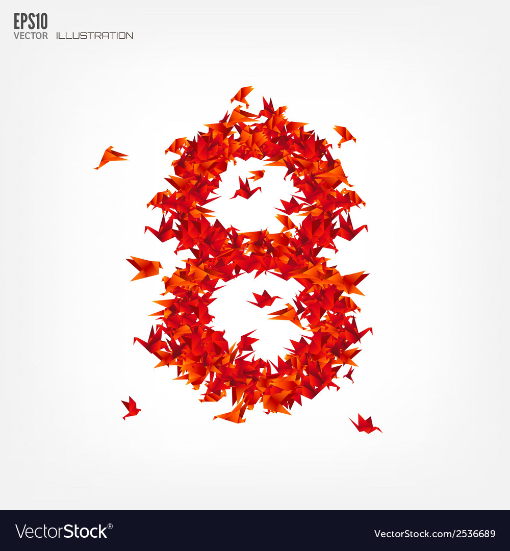Number 8 numbers with origami paper bird on vector   Price: 1 Credit (USD $1)