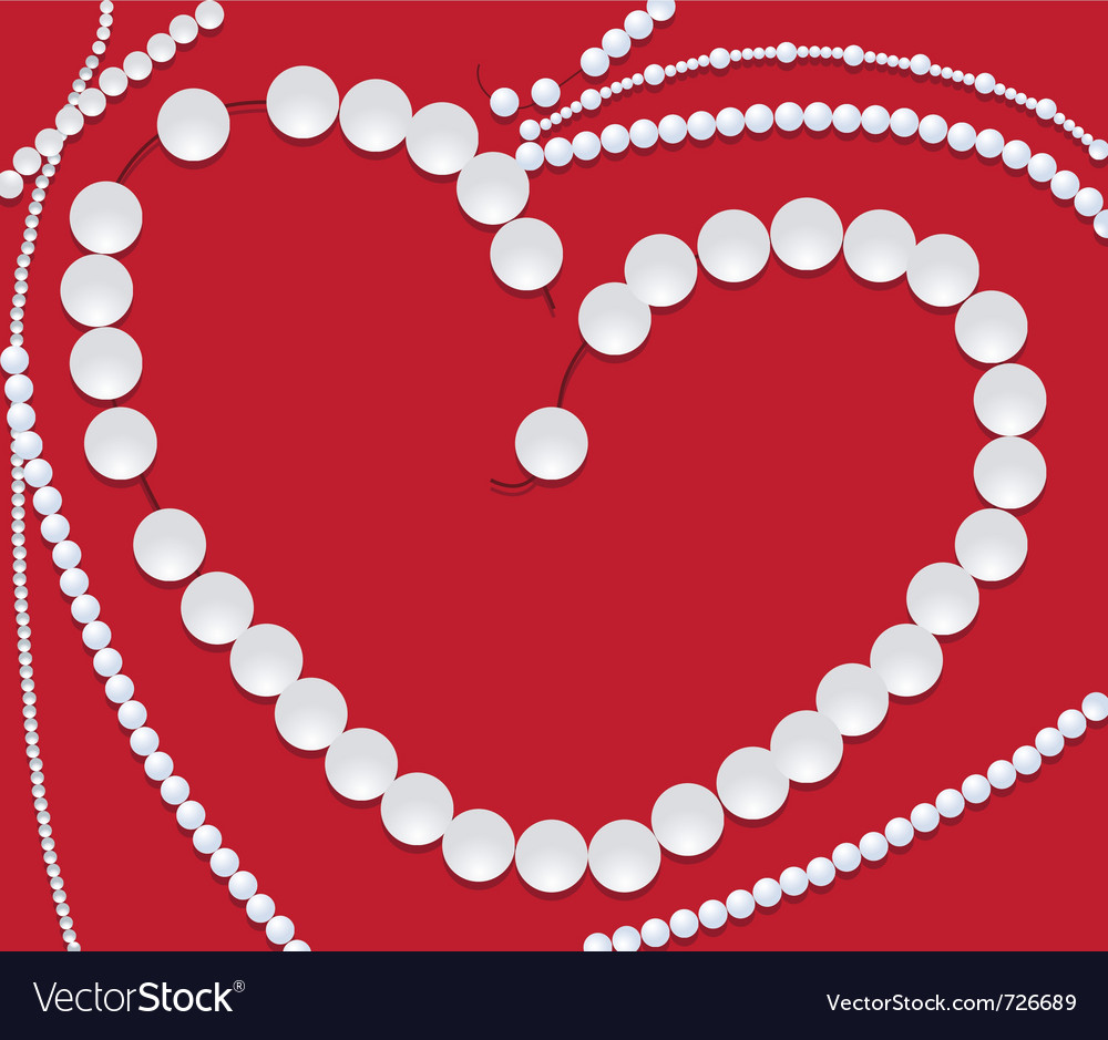 Pearls neclace of heart shape vector | Price: 1 Credit (USD $1)