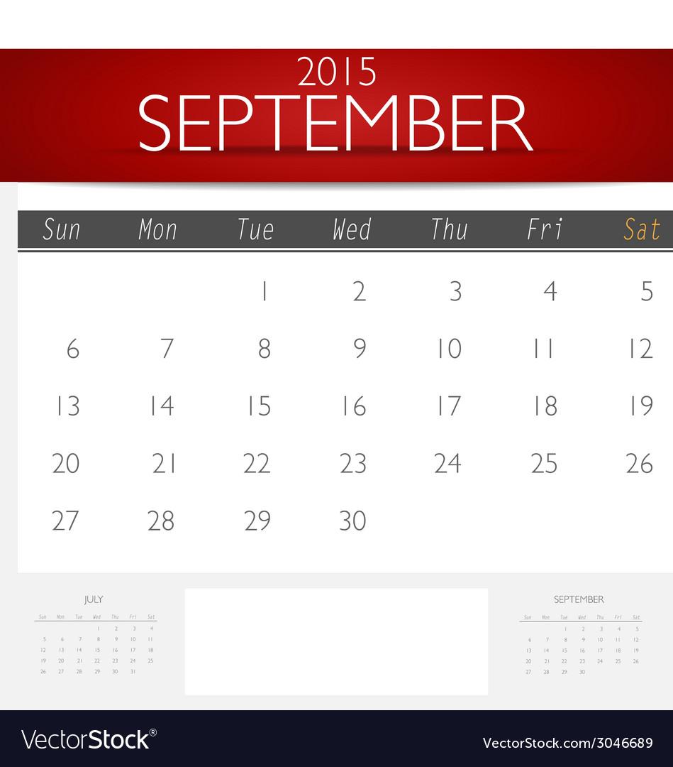 Simple 2015 calendar september vector | Price: 1 Credit (USD $1)