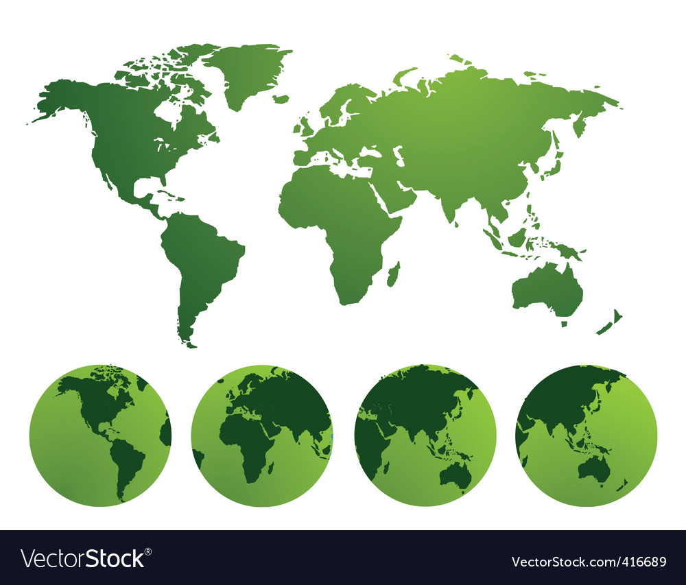World and continents vector