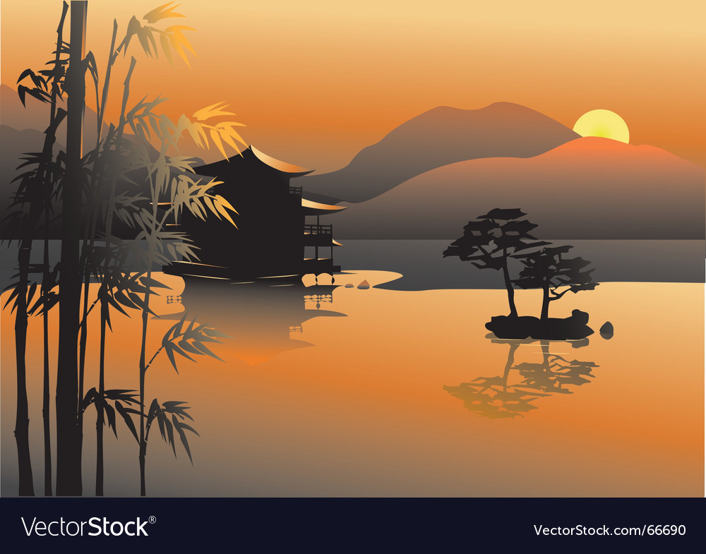 Asian lake vector | Price: 1 Credit (USD $1)