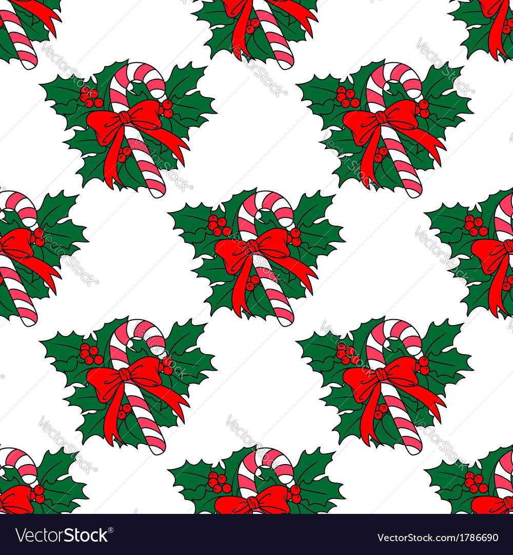 Christmas candy stick seamless pattern vector | Price: 1 Credit (USD $1)