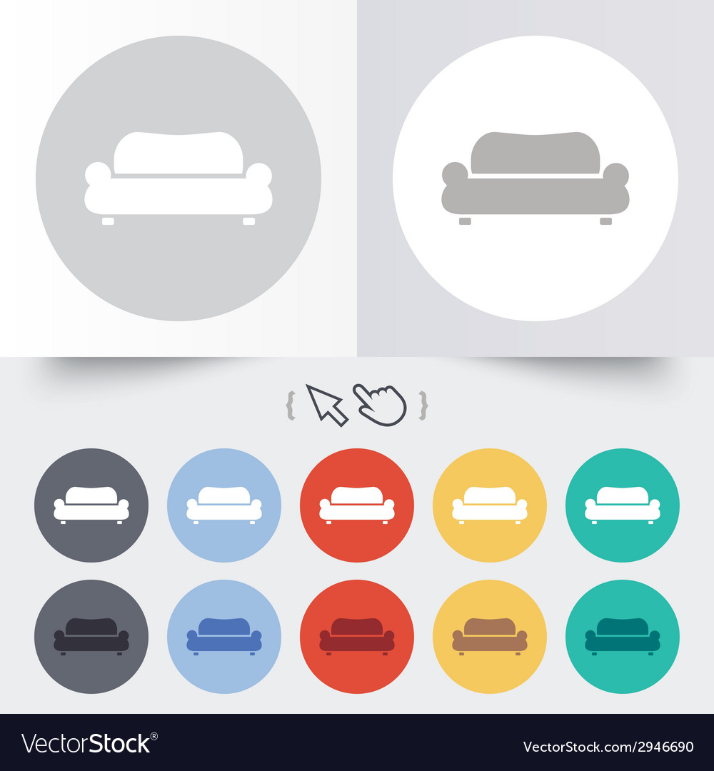 Comfortable sofa icon modern couch symbol vector | Price: 1 Credit (USD $1)