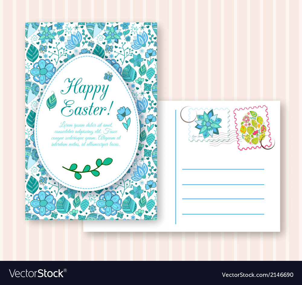 Easter egg on flowers background vector   Price: 1 Credit (USD $1)