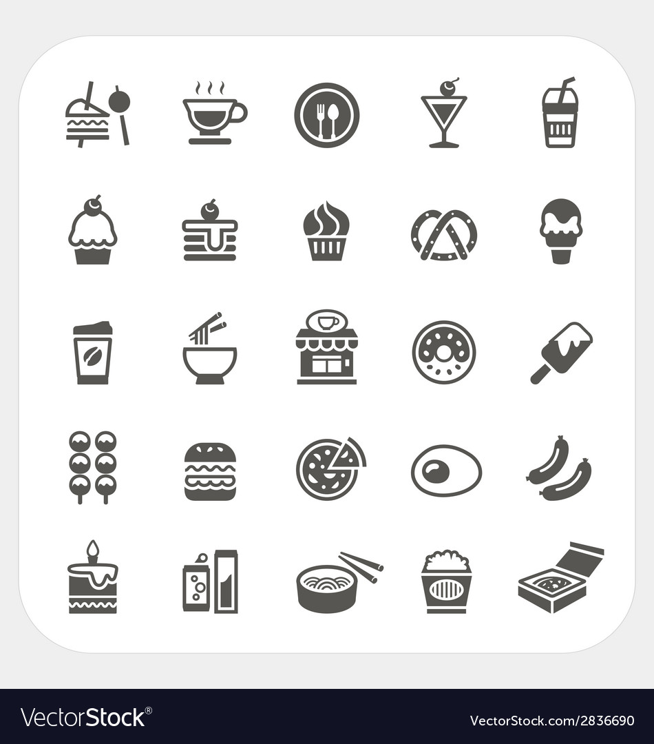 Food and beverage icons set vector | Price: 1 Credit (USD $1)