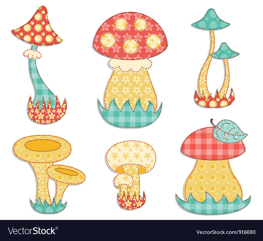 Isolated mushroom patchwork set vector | Price: 1 Credit (USD $1)