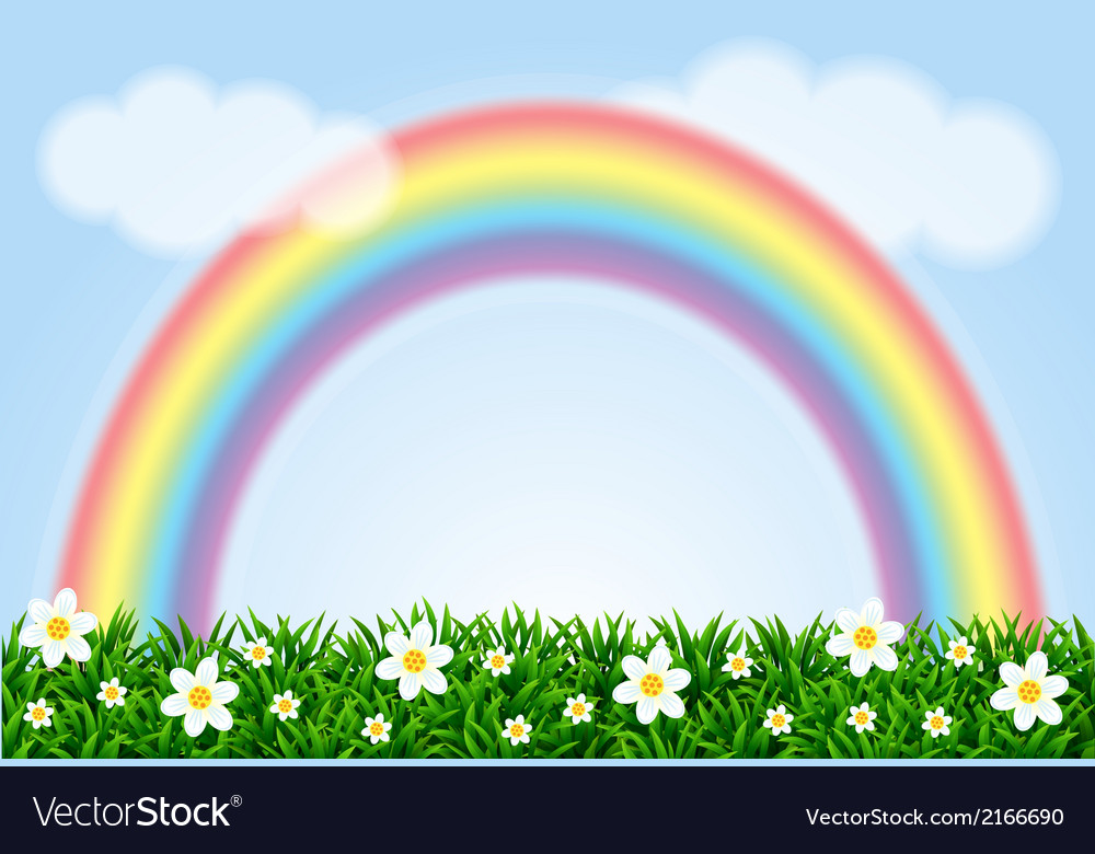 Landscape with a rainbow and camomiles vector | Price: 1 Credit (USD $1)
