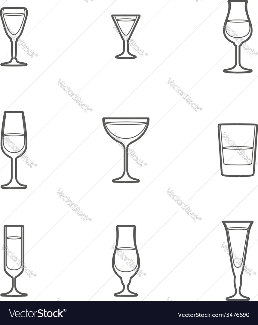 Outline alcohol glasses icon set vector | Price: 1 Credit (USD $1)